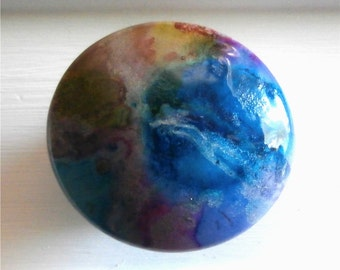 Custom made One of a Kind Furniture and Cabinet Knob-Multi Coloured Unicorn Spit and Alcohol Ink