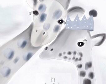 Giraffe Love - kids print, modern nursery print, boys print, giraffe print,  watercolour print, animal print, giraffe painting