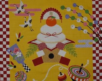 Furoshiki 'Shogatsu Mochi and Cranes' New Year's Motif Cotton Yellow Japanese Fabric w/Free Insured Shipping