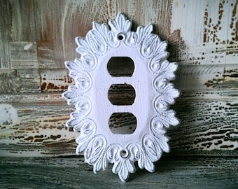 S A L E Wall Plate Cover,Vintage EDMAR Electrical Triple Switch Plate Cover,  Shabby Chic Wall Decor