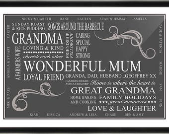 Mothers day gift / framed print / word art / Grandma / Grandmother