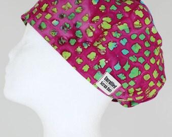 Surgical Scrub U Hat for Women - Raspberry Morning