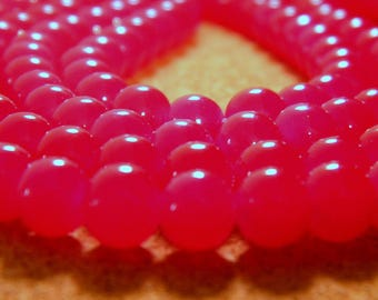 "30 bright glass beads - 8 mm - way ""jade"" - tomato red hot - PE241-5"