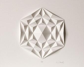 Por encima de la cama Hexagonal triángulo Mini Resumen Escultura Origami decoración de la pared - papel geométrico mosaico alivio para sala de estar - brillante blanco
