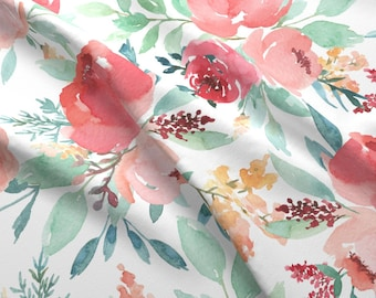 Watercolor Floral Fabric - Large Watercolor Flowers By Taylor Bates - Watercolor Cotton Fabric By The Yard With Spoonflower