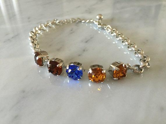 Topaz and Sapphire Crystal Bracelet,  Topaz Crystal Bracelet, Sapphire Crystal Bracelet