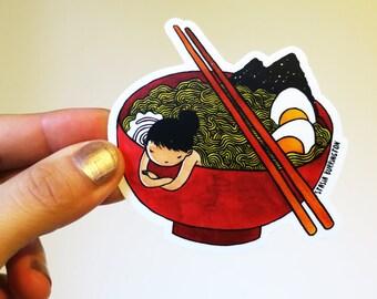 Vinyl Sticker - Ramen Girl - Japanese noodle lover