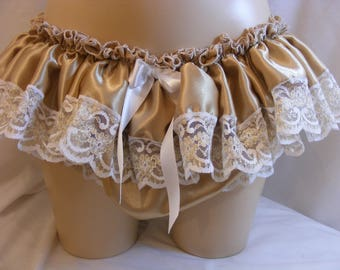"sissy adult baby panties frilly gold satin and lace pants mens lingerie knickers  waist/ hip 28""-42"" cross dress tv  ~ b167"