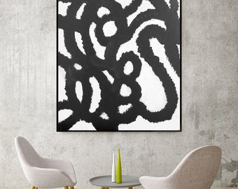 Black and white Abstract Painting Living Room Art Dining Room Art Bedroom Art Modern Art Black and White Hotel Art Bar Lounge Art Graphic
