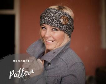 Crochet Headband Pattern, Earwarmer Pattern, Bulky Headwrap, Easy Crochet Tutorial, Button Headband, Anna Ear Warmer, Beginner Crochet