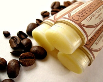 Cappuccino Scented Lip Balm, Coffee Scented Lip Balm, Unsweetened Lip Balm, Coffee and Cream Lip Balm, Phthalate Free Flavor, Coffee Gift