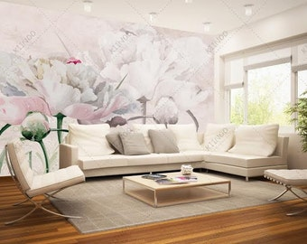 Peony Flowers Wall Mural, Pastel Flowers Wall mural, Wallpaper, Wall décor, Wall decal, Nursery and room décor, Wall art