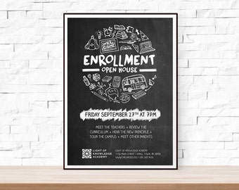 DIY Printable Back to School or Open House Event Flyer Template (PSD + DOCX) for Church, School, Chalkboard, Hand Drawn, Doodle