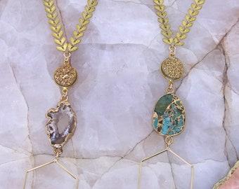 Hexagon Druzy Necklace | Hexagon Necklace | Chevron Necklace | Druzy Necklace | Tiered Necklace | Bohemian Necklace