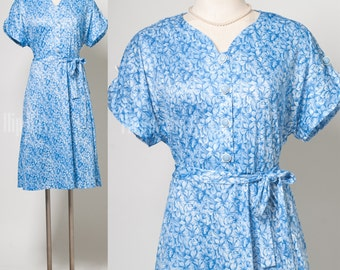 Vintage 70s Dress, Vintage Blue Dress, Blue Floral Dress, Vintage Day Dress, 70s Blue Dress - L/XL