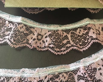 """Lace Mauve 1"""" x 6 yards Fabric Ribbon Crafting sewing Floral Trim"""