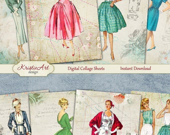 75% OFF SALE Retro Fashion - Digital Collage Sheet Digital Cards C125 Printable Download Image Tags Digital Atc Cards ACEO Fashion Cards