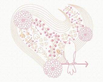 Machine Embroidery Design - Abstract Heart Swirls #08
