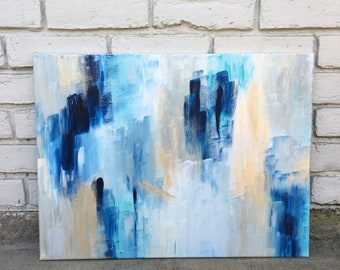 Ask / 18x24 Original Abstract Acrylic Painting on Canvas / blue / turquoise / gold / navy / ivory / grey