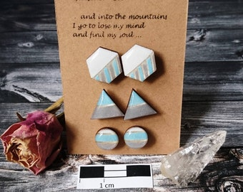 """Set of 3 wooden earrings/HOLZOHR plug """"Glacier set"""" handmade and hand painted-resin/resin"""