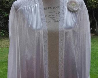 Robe goes up! Shabby chic white wedding bride woman dressing gown white elegant satin vintage gift Bride