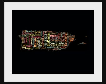 Puerto Rico Map Typography Map Poster Print Text Map - Multi-Color Over Black