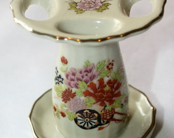 Vintage Floral Ceramic Toothbrush Holder ~ 4 openings ~ Made in Japan ~ Floral