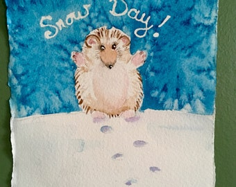 "Hedgehog mini watercolor, 4.5""square. Snow Day!"
