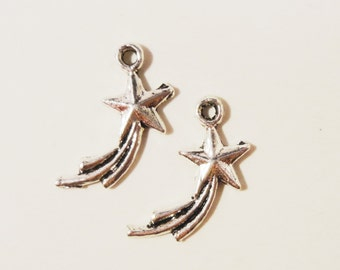 50pcs Silver Shooting Star Charms 17x10mm Antique Silver Star Charms, Falling Star Charms, Comet Pendants, Wholesale Bulk Metal Charms
