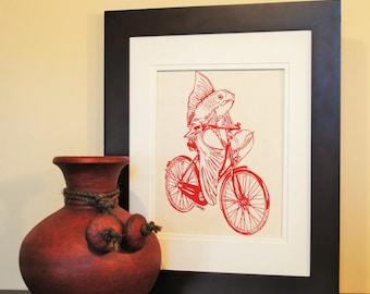 Nautical Kitchen Wall Art - Art for Kitchen - Cotton Canvas - Wall Decor Print - Fish Art Print - Wedding Shower Gift - Red Fish on a Bike