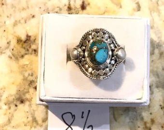 Blue Turquoise and Pearl Ring Size 8 1/2