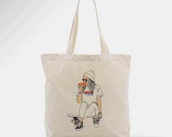 Tote bag, sac en toile femme, cadeau, accessoire, amour et pizza