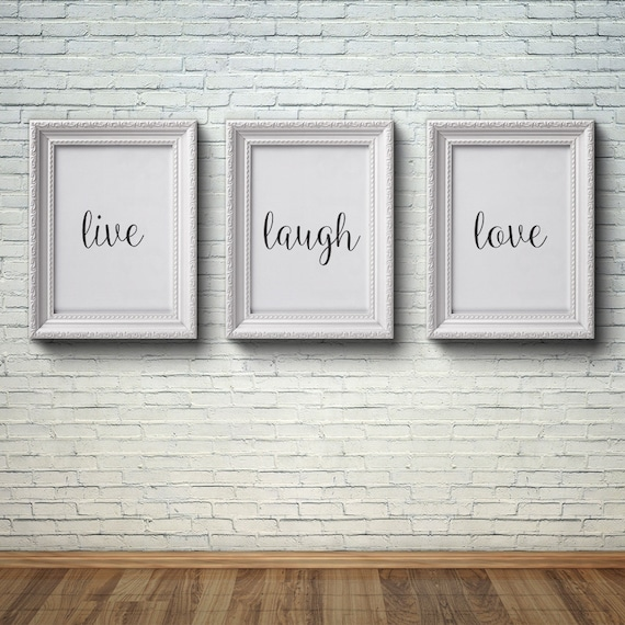 Live Laugh Love Wall Art Set Of 3 Prints Printable Home Decor Minimalist Poster Black And White INSTANT DOWNLOAD 8x10