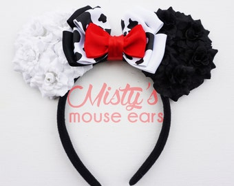Inspired Cruella Deville Rose Mouse Ears