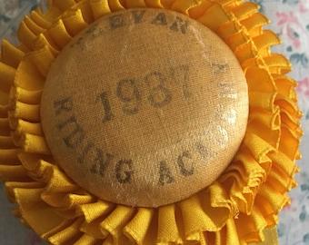 Antique Vintage 1937 Teeven Riding Academy Horse Ribbon Award Rosette Yellow