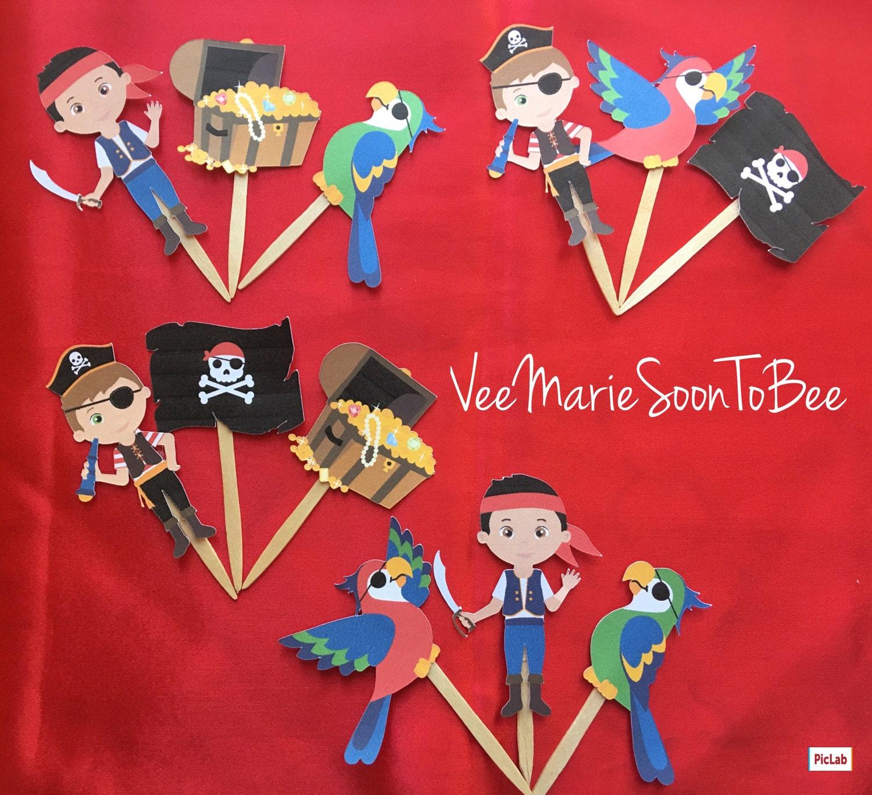 Pirata tema Cupcake Toppers