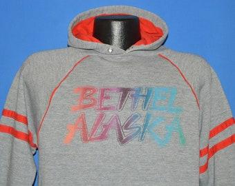 80s Bethel Alaska Rainbow Striped Hooded Sweatshirt Large