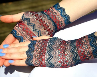 Bridal Gloves,  Lace Gloves. Multicolored Geometric Pattern. Lace Gloves. Stretch Lace Fingerless Lace Glove.