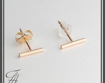 Gold Stud Earrings, Gold Bar Earrings, Gold Bars 8.5mm, Gold Studs, Bar Studs, Gold Stick, Everyday Earrings, Line Earrings, Minimalist