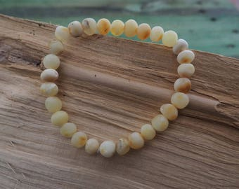 RAW White Baltic Amber Bracelet baroque primitive shape beads on elastic gum length 7.5-8 inch