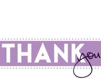 Set of 10 Thank You Folded Notecards, purple