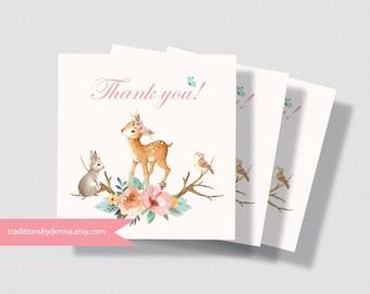 WOODLAND BABY SHOWER Printable Favor Tag | Girl Baby Shower Favor Tag | Forest Animals Favor Tag | Little Deer Baby Shower Favor Tag 0260