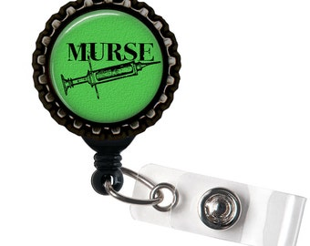 Murse - Green and Black Retractable Badge Reel ID Holder