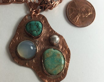 Copper, Turquoise and Moonstone with sterling silver accents
