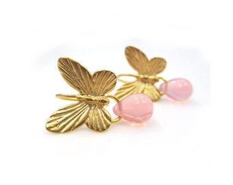 Butterfly Gold Earrings, Gift for Her, Christmas Gift for Wife, Pink Earrings, Lightweight Earrings, Butterfly Jewelry, Gold Dangle Earrings