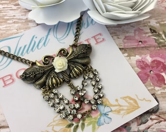Victorian Dragonfly Necklace - Dragonfly Necklace -  Victorian Necklace - Brass Necklace - Statement Necklace - Crystal Necklace - Rose