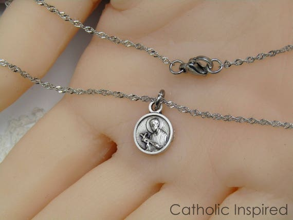 Tiny st gerard medal necklace stainless steel chain aloadofball Image collections