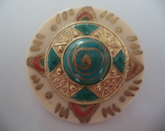 Vintage Unsigned 60s Turquoise Hand Painted Artisan Brooch/Pin   Very Unusual