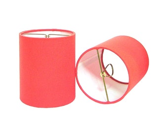Chandelier Shade Sconce Clip-On Lamp Shade Lampshade Irish Linen Coral Made to Order