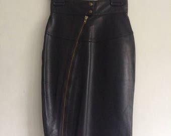 AZZEDINE ALAIA  Leather Mini Zipper Body Con Skirt / Vintage